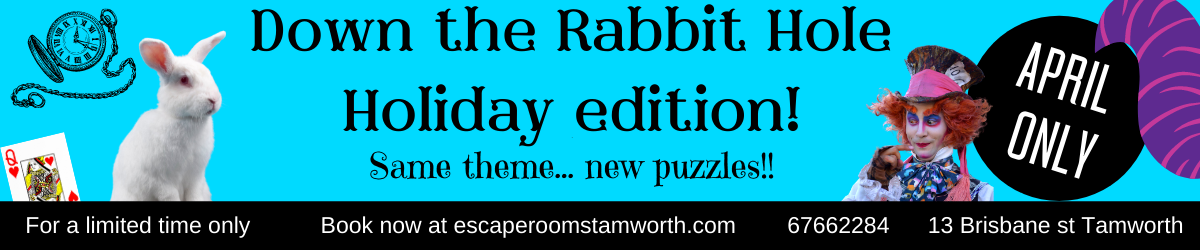 Down the Rabbit Hole, Escape Rooms Tamworth, Things to do in Tamworth